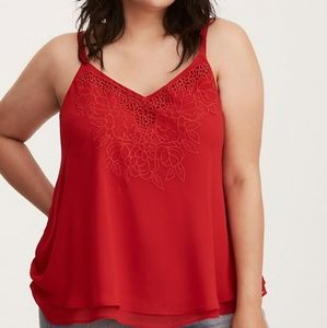 Torrid Embroidered Chiffon Swing Cami